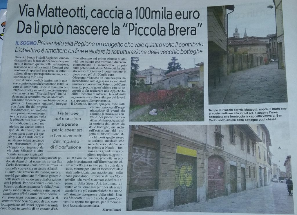 La Prealpina, via matteotti, caccia a 100 mila euro.